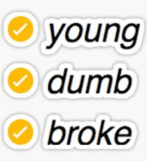 young, dumb, and broke Sticker