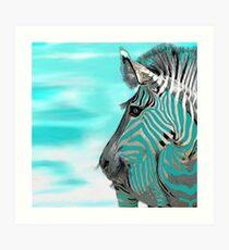 Zebra-Zusammenfassung BLAUES AQUA Kunstdruck