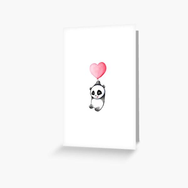 Cute Panda Love Balloon Greeting Card