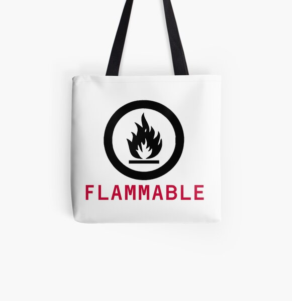 Flammable Warning All Over Print Tote Bag