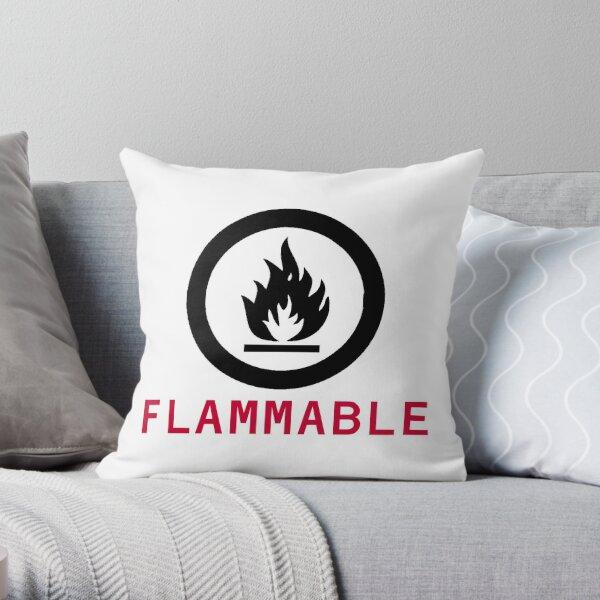 Flammable Warning Throw Pillow