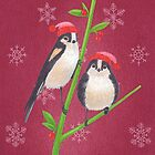 long tailed tit in winter tree christmas scene on red background by EllenLambrichts