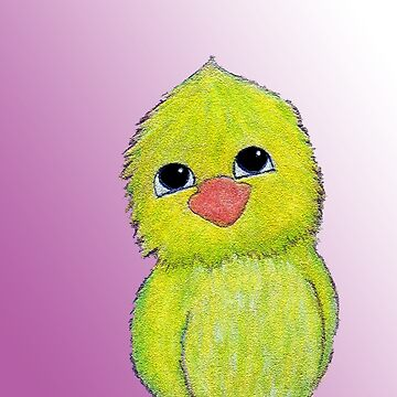 Happy Lime Green Bird by peaceofpistudio