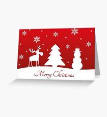 Christmas Tree Reindeer Snowman Greeting Card