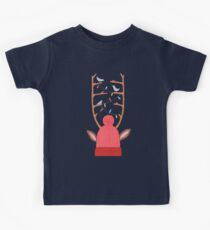 antler christmas party with birds and a moose on blue background Kids Clothes