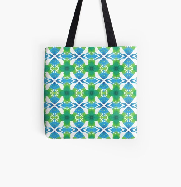 Spring Green Bird Aviary  All Over Print Tote Bag
