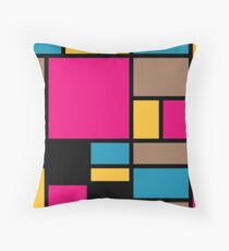 Mondrian style modern cool colors 1 Throw Pillow