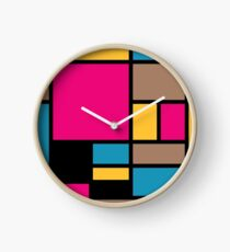 Mondrian style modern cool colors 1 Clock