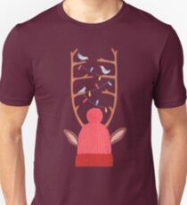 antler christmas party with birds and a moose on burgundy red background T-Shirt