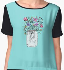 Mason Jar with Flowers Women's Chiffon Top