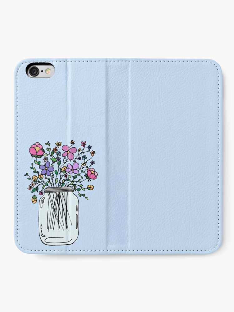 Alternate view of Mason Jar with Flowers iPhone Wallet