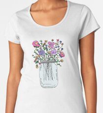 Mason Jar with Flowers Women's Premium T-Shirt