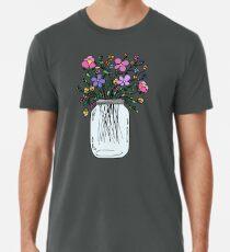 Mason Jar with Flowers Men's Premium T-Shirt