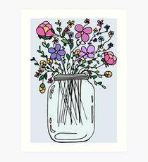 Mason Jar with Flowers Art Print