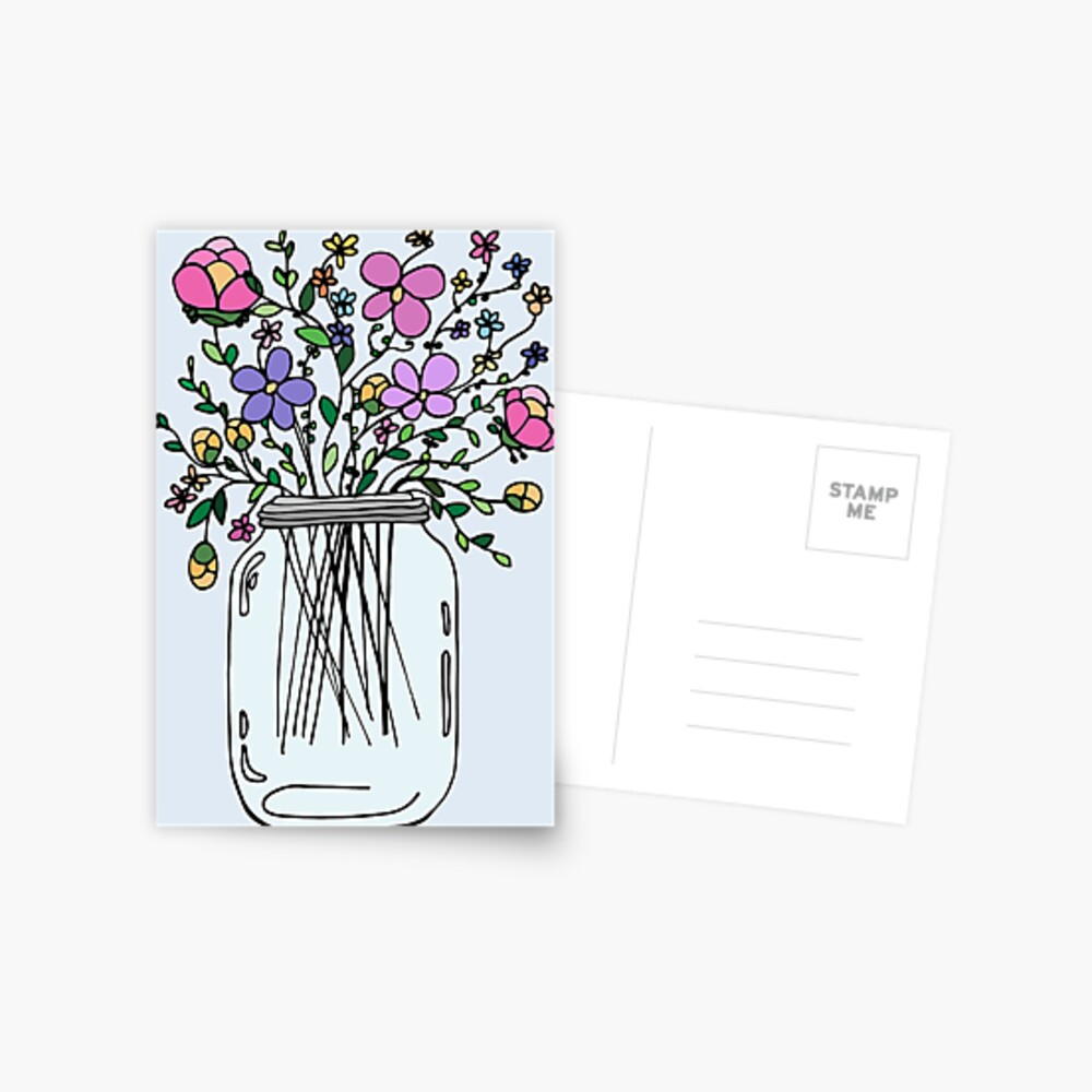 Mason Jar with Flowers Postcard