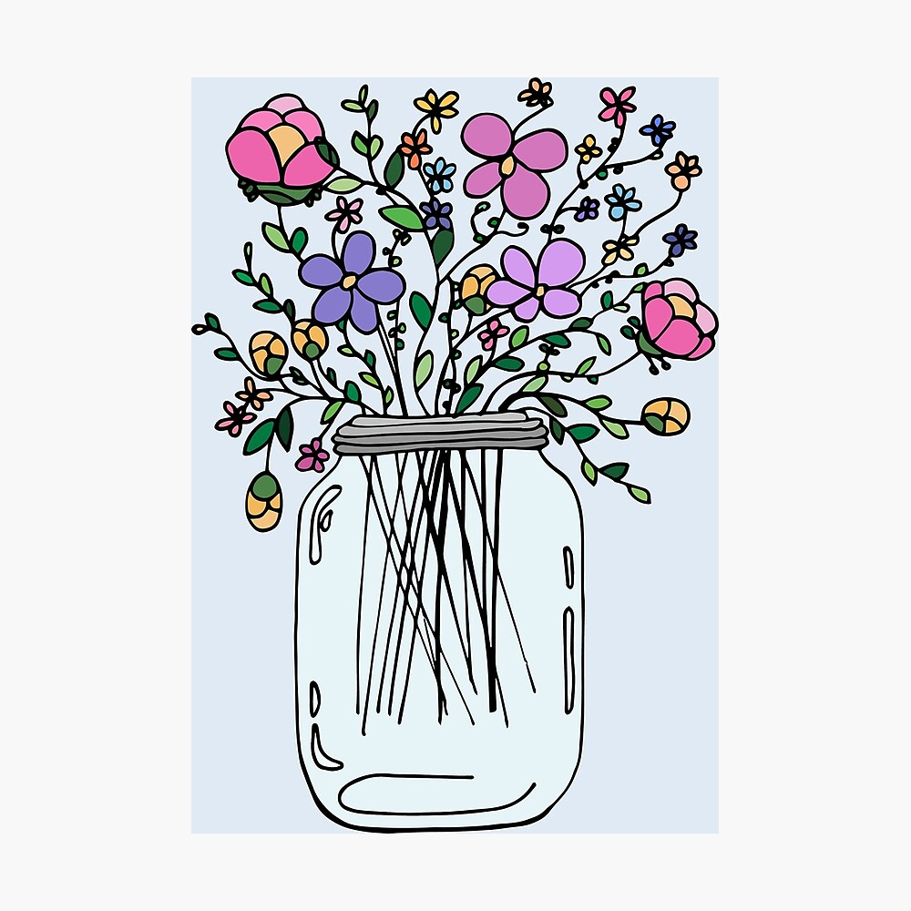 Mason Jar with Flowers Photographic Print