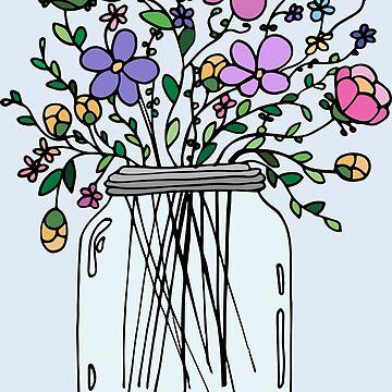 Tarro de masón con flores de mlleruta