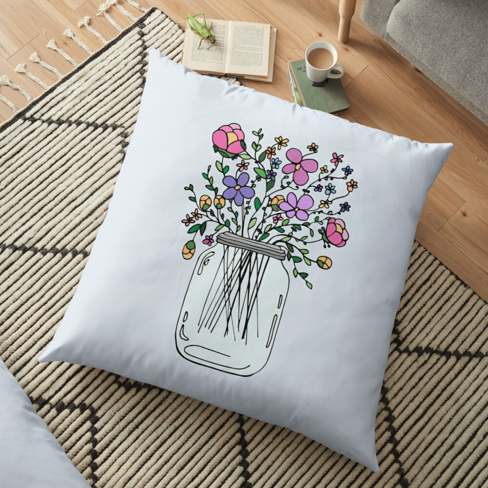 Mason Jar with Flowers Floor Pillow