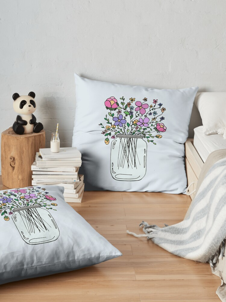 Alternate view of Mason Jar with Flowers Floor Pillow