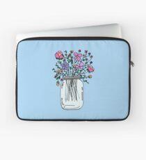 Einmachglas mit Blumen Laptoptasche