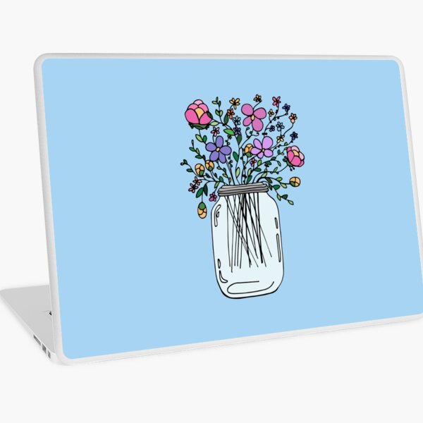 Mason Jar with Flowers Laptop Skin