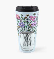 Mason Jar with Flowers Travel Mug