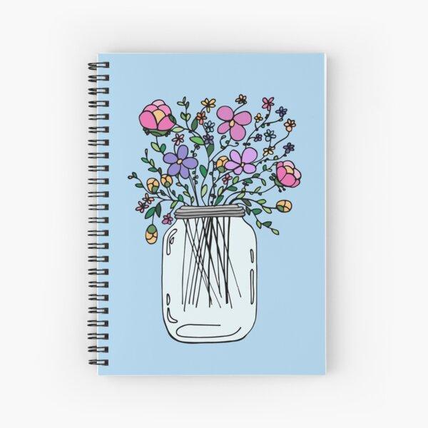 Mason Jar with Flowers Spiral Notebook