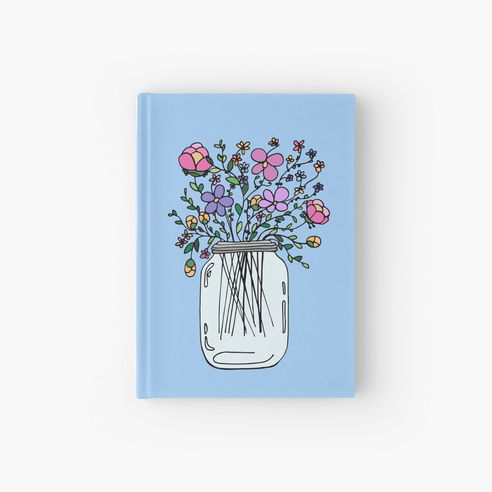 Mason Jar with Flowers Hardcover Journal