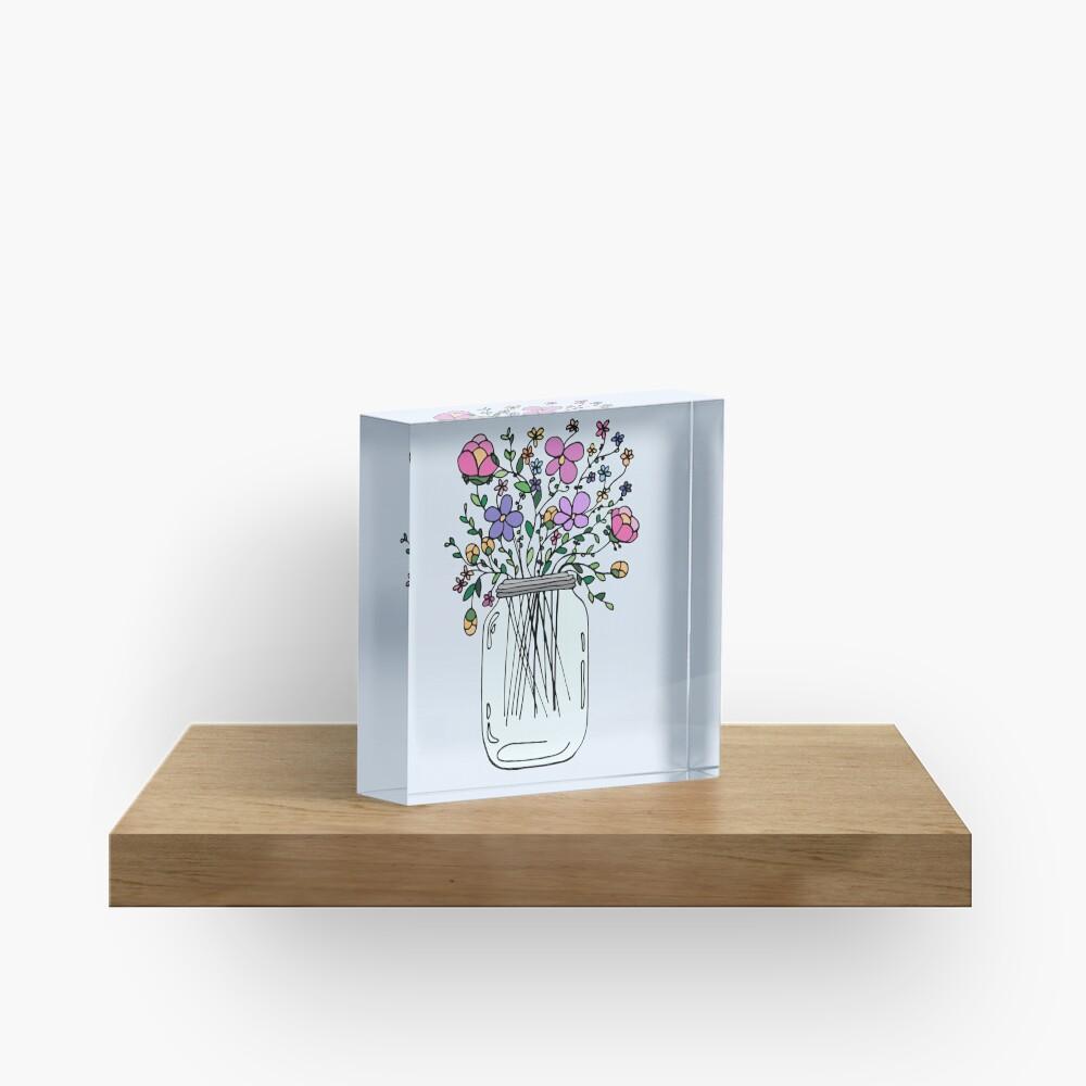 Mason Jar with Flowers Acrylic Block