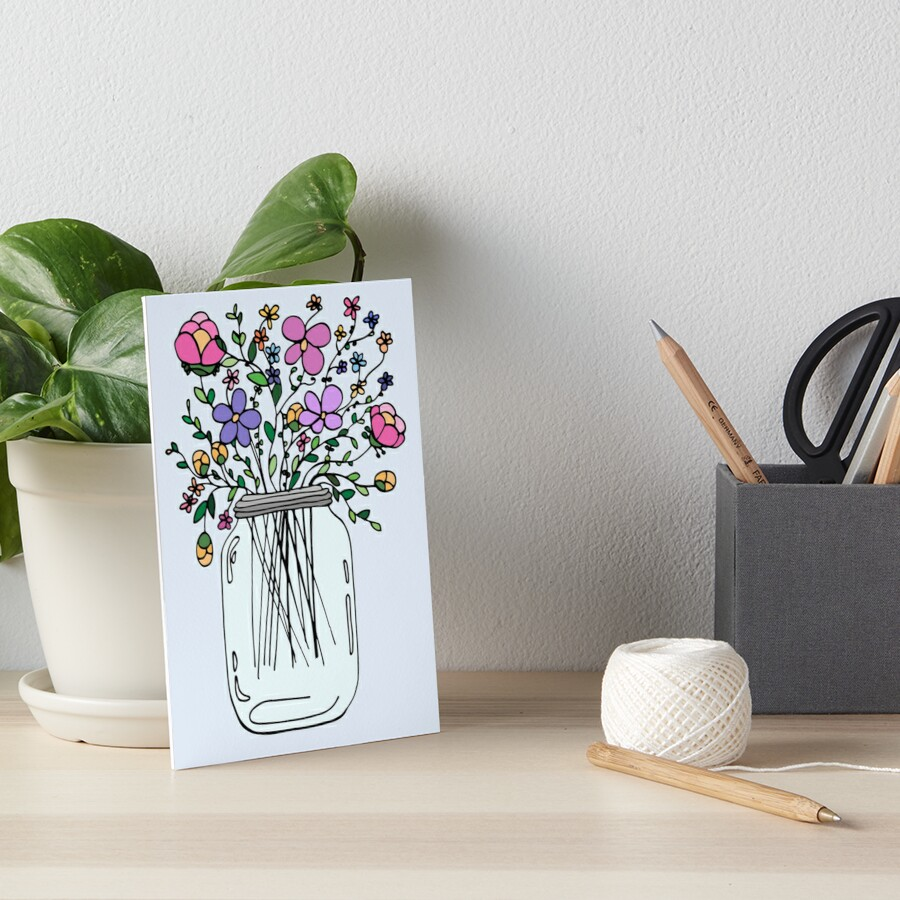 Mason Jar with Flowers Art Board Print