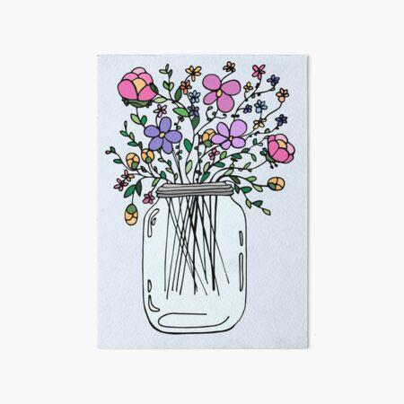 Mason Jar with Flowers Art Board Print