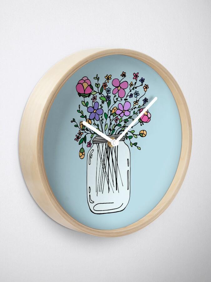 Alternate view of Mason Jar with Flowers Clock