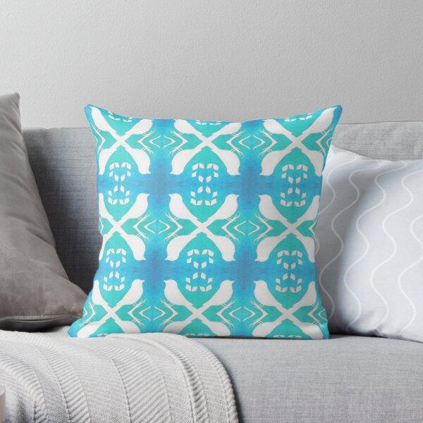 Bird Echo on Blue Throw Pillow