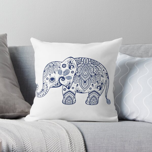 Blue Floral Elephant Illustration Throw Pillow
