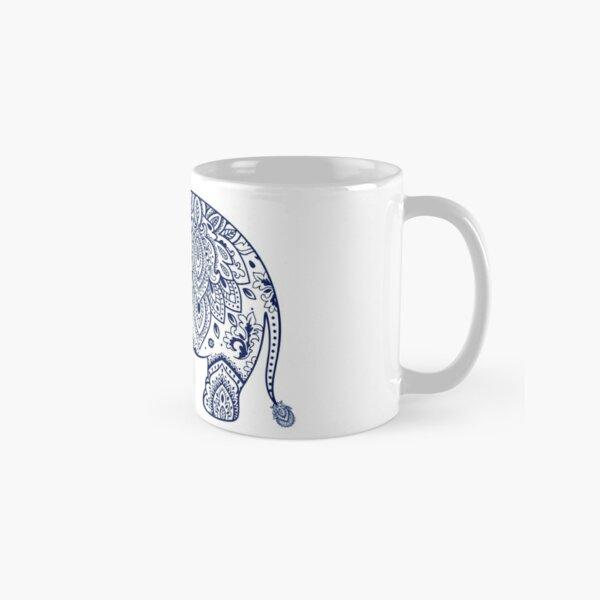 Blue Floral Elephant Illustration Classic Mug