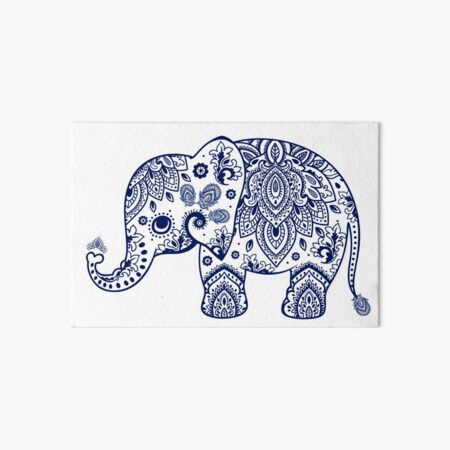 Blue Floral Elephant Illustration Art Board Print