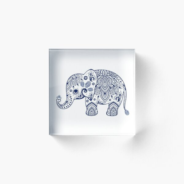 Blue Floral Elephant Illustration Acrylic Block