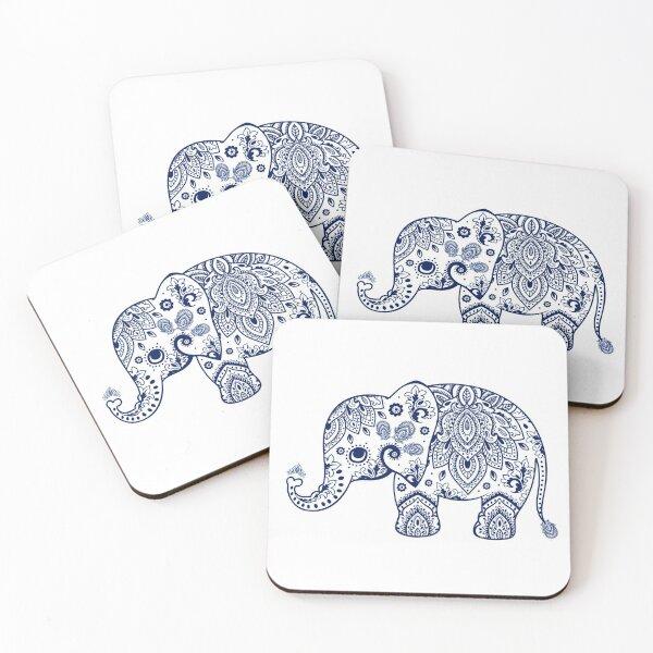 Blue Floral Elephant Illustration Coasters (Set of 4)