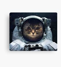 witty Cat astronaut  face Space Galaxy    Canvas Print