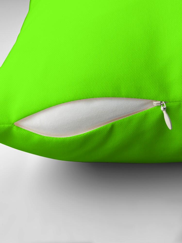 Alternate view of Super Bright Fluorescent Green Neon Throw Pillow