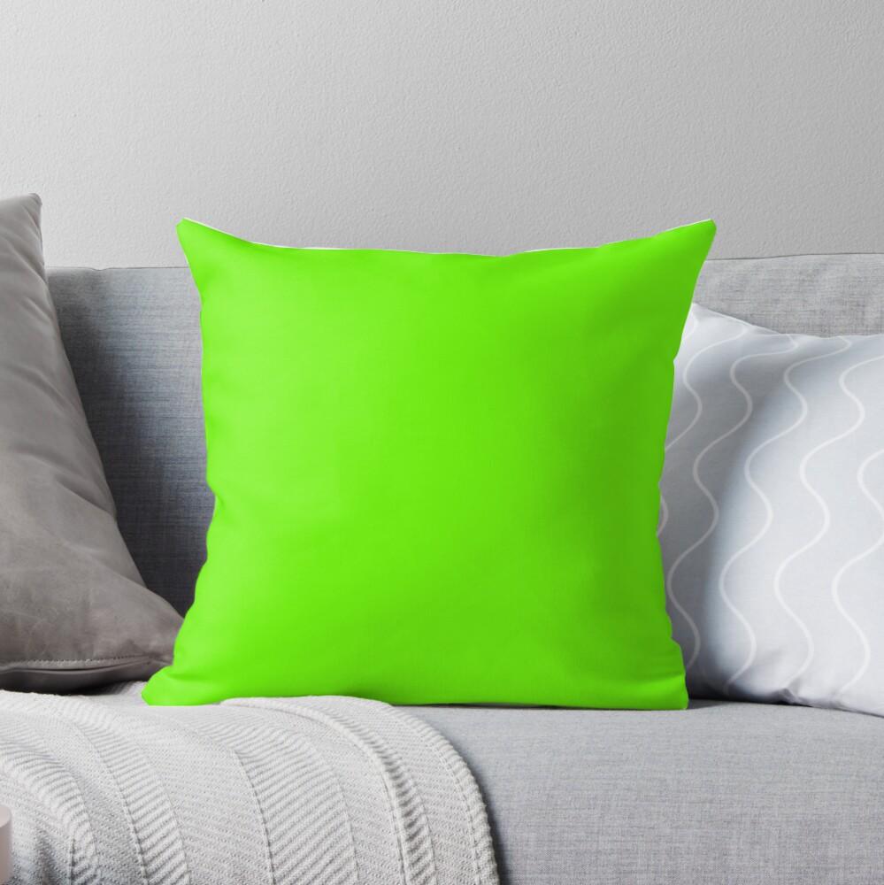Super Bright Fluorescent Green Neon Throw Pillow
