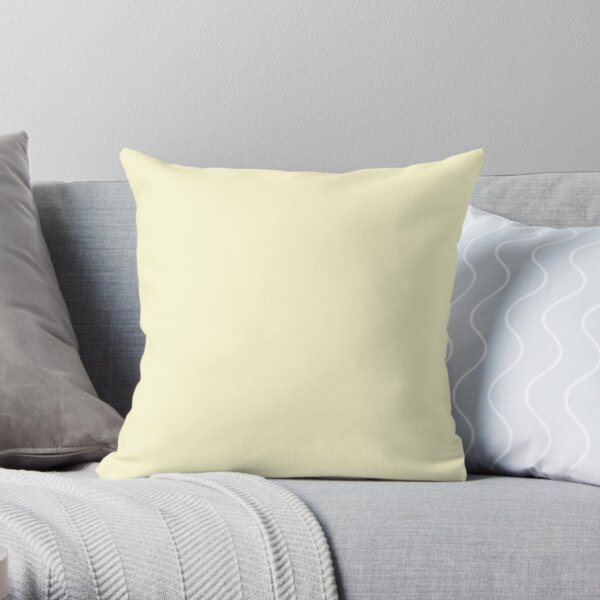 Pastel Lemon Yellow Pale Soft Meringue Yellow Solid Color Throw Pillow