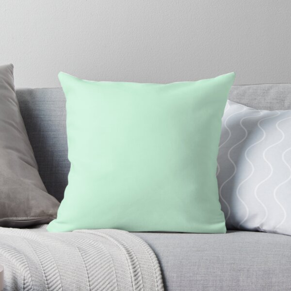 Pale Green Summermint Pastel Green Mint Throw Pillow