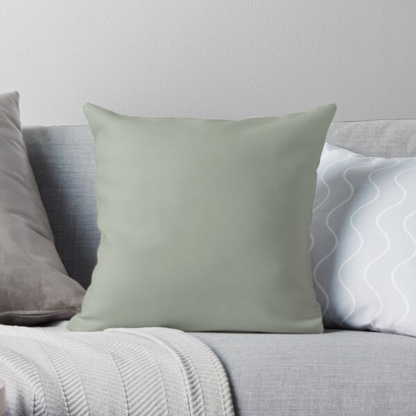 Desert Sage Grey Green Solid Color Throw Pillow
