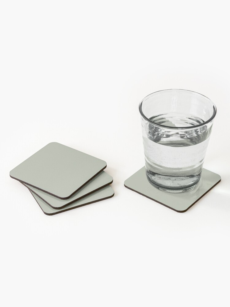 Alternate view of Desert Sage Grey Green Solid Color Coasters (Set of 4)