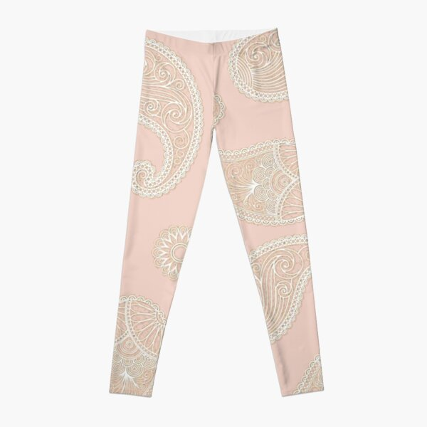 Pink Sand Pale Rose Gold Beige Paisley Lace Pattern Leggings