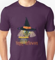 Happy Halloween Witch with Bowl of Candy Illustration T-Shirt