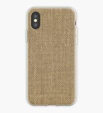 Natural Woven Beige Burlap Sack Cloth iPhone Case