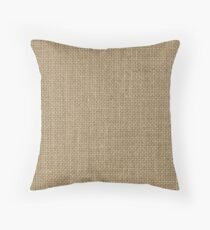 Natural Woven Beige Burlap Sack Cloth Throw Pillow