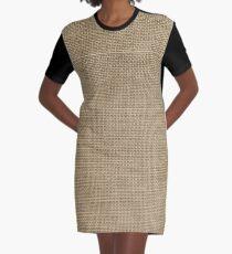 Natural Woven Beige Burlap Sack Cloth Graphic T-Shirt Dress